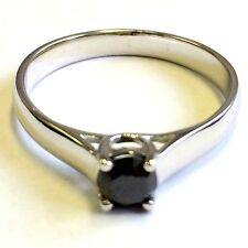 Beautiful 0.50 Carat Natural Real Black Diamond Solitaire Ring , Sterling Silver