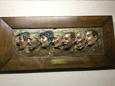 "Antique Framed Painted Plaster Busts""At The Circus"""