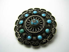 A STERLING SILVER BROOCH PIN TURQUOISE & FILIGREE Middle East Palestine ca1920s