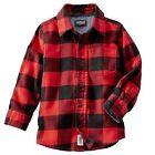 New OshKosh Buffalo Check Flannel Shirt Top NWT 12m 4 5 6 7 Kid Red Black