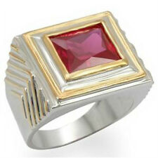 GIFTS FOR MEN Statement Chunky Size 10 T Two Tone Synthetic Ruby Stone Ring