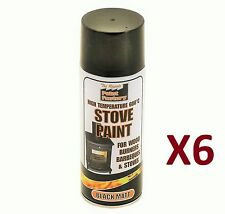 6 x 400ml Heat Resistant Matt Black Spray Paint Stove Exhaust High Temperature.