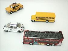 Diecast car model Lot of 4: NY Tour Bus, School Bus, NYC Taxi & Beatle EUC