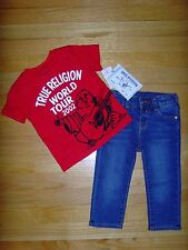 NEW TRUE RELIGION BABY BOYS OUTFIT 2PC GIFT SET STRAIGHT JEANS & TEE TT-SHIR 9M