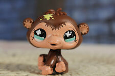 Littlest Pet Shop LPS #663 Chocolate Brown Monkey with Green Eyes Yellow Splat