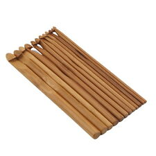 "12 pcs 6"" Bamboo Wooden Handle Crochet Hooks  UK"