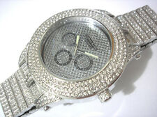 Iced Out Bling Bling Big Case Hip Hop Techno King Men's Watch Silver Item 2801