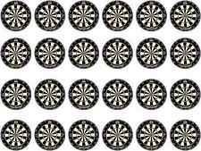 24 Dartboard Printed Edible Rice Wafer Paper Birthday Sport Cupcake Bun Toppers