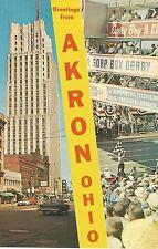 Akron OH Street Scene-Soap Box Derby Postcard 1950s