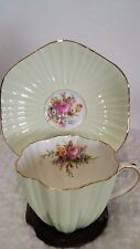 FOLEY TEA CUP/ SAUCER,BONE CHINA,PASTEL PALE GREEN/FLOWERS,ENGLAND,POTTERY MINT