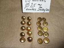 20 BOUTONS MILITAIRE METALLIQUES DORES Diamètre 25 mm FRENCH MILITARY BUTTON
