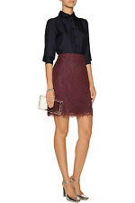 Carven Burgundy Red Lace Skirt w Pockets Sz US 4 6  FR 38 $780
