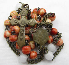 "†  ANTIQUE ""CROWN OF OUR LORD"" BLOOD RED DYED GENUINE BOVINE ROSARY CHAPLET †"