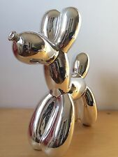 New Very Large Pop Art Balloon Dog Silver + Authentic Jeff Koons Art Postcard