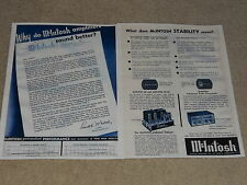McIntosh MC-60 Tube Amplifier Ad, C-8 Preamp, 2 pages, Articles Info Letter 1956