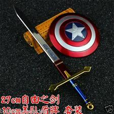 10cm Captain America shield 27cm Freedom and Justice Sword Alloy Model 2pcs/set