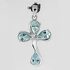 Natural Blue Topaz Solid 925 Sterling Silver Cross Pendant (gp310)