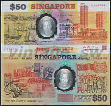 1990 SINGAPORE 25TH YEARS OF INDEPENDENCE POLYMER $50.00 HTT A 343032 P-30 UNC