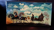 VINTAGE Russian MSTERA Laquer painted Wall Decor  signed by artist B.E