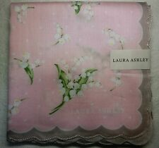 "Laura Ashley lily of valley pink handkerchief 57x57cm(22.44"")cotton Japan made"