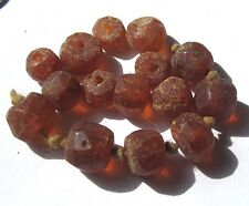 "15 RARE HAND FACETED OLD GRADUATED ""REAL"" AMBER ANTIQUE BEADS"