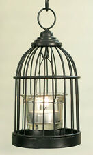 Country new small rustic brown BIRDCAGE cage votive candle holder w/glass holder
