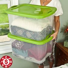 6 Plastic Tote Storage Container Large Home Organizer Box with Lids Bin Set 70qt