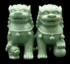 PAIR NATURAL GREEN JADE CHINESE LION FOO / FU DOG CARVING SCULPTURE / HOME DECOR