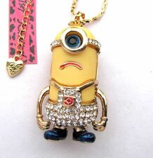 Betsey Johnson glisten crystal/enamel Monocular cartoon pendant Necklace#602L