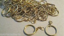 "100 LOT 1"" Diameter Goldtone Split Key Rings With Chain 1"" Extender"