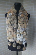Real rabbit fur scarf/  wrap/ collar  new shawl brown pom-pom scarf