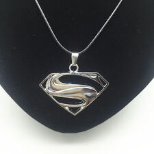 Men'S Fashion Jewelry Silver Superman Logo Pendant Black Leather Necklace Gift 3