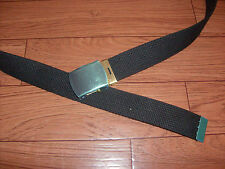 U.S MILITARY STYLE BLACK WEB BELT WITH SOLID BRASS BUCKLE U.S.A MADE