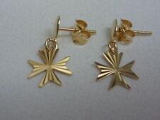 new 18ct oro amarillo cruz de malta pendientes con diamante cut tacha gotas