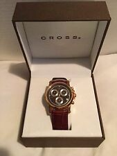 Cross Men's WMAQ51, Milan Chrono Quartz With Brown Leather Maroon and Rose Gold