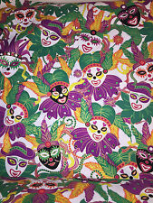 "Hancock Fabrics Mardi Gras Masks Feathers Beads Cotton Quilt Fabric BTY x 44""w"