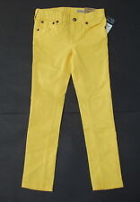 Ralph Lauren Bowery Skinny Pants 5 Girls Yellow Logo Crest Jeans Cotton Blend