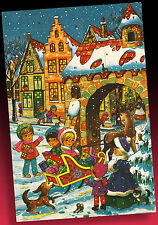 SCHÖNER ALTER ADVENTSKALENDER WESTERN GERMANY 60er KINDER IN DER KUTSCHE