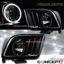 2005-2009 FORD MUSTANG GT HEADLIGHTS CCFL RIM ANGEL EYES BLACK STYLE PAIR