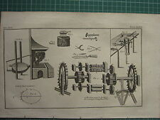 1766 ANTIQUE PRINT ~ SMITHERY SMITHY VARIOUS TOOLS EQUIPMENT IRON PLACES