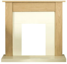 ELECTRIC OAK WOOD SURROUND IVORY CREAM SMALL FREESTANDING FIRE FIREPLACE SUITE