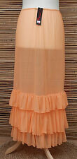 LAGENLOOK MAXI PETTICOAT UNDERSKIRT/DRESS*PEACH*MADE IN ITALY WAIST UP TO 50""