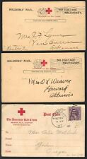 US 1914-18 THREE RED MILITARY CROSS SOLDIER MAIL POSTAL CARDS
