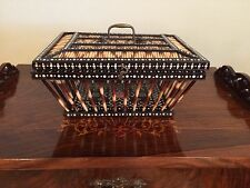RARE ANTIQUE EBONY PORCUPINE QUILL BASKET BOX WITH LID ENGLISH VICTORIAN