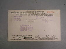1921 Willys Overland Automobile Certificate Registration Card PA Violet Ray Old