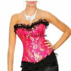 Sexy Lingerie Gold Flora Brocade Lace Trim Boned Corset Top Hot Pink Plus Sizes