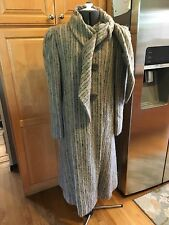 Pauline Trigere Vintage 100% Wool Full Length Coat With Scarf 10 USA UNION MADE
