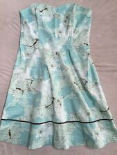 NWT NEW Robin Jordan Size 14 Floral Teal Strapless Dress. Free Shipping