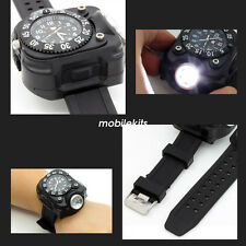 Tactical LED Flashlight Torch Wristlight Quartz Watch Compass for Outdoor Sports