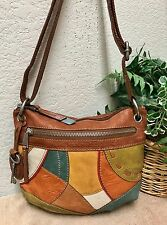 Fossil Long Live Vintage Multi-Color Patchwork Leather Shoulder Handbag Bag Key